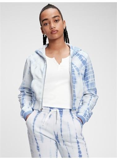 Gap Genç Kız   Teen Tie-Dye Kapüşonlu Sweatshirt Mavi